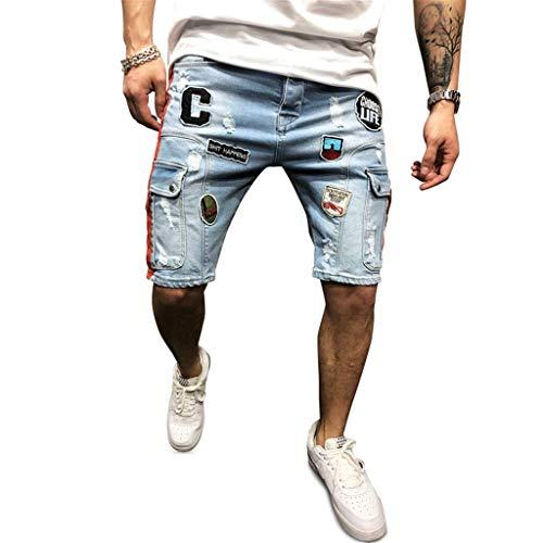 Homme Denim Pants - WOCACHI Mens Skinny Jeans Slim Biker Zipper Washed Denim Frayed Pants Distressed Holes Rip Trousers Short Jeans Hommes Plus Size Elastic Skate Board Straight Pockets Cargo Jogger Pants 2019 Summer