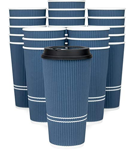 Glowcoast Disposable Coffee Cups With Lids - 22 oz To Go Coffee Cup With Lid (50 Set). Large Togo Travel Paper Ripple Hot Cups Insulated For Hot, Cold Beverage Drinks, No Sleeves Needed (Royal Blue)