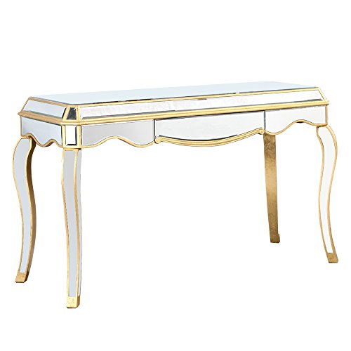Elegant Lighting Camille Silver with Clear Mirror 1 Drawer Desk by Elegant Lighting