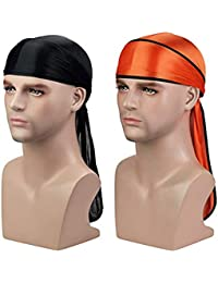 Silky Durag (2PCS) with Extra long tail and wide straps headwrap Du-Rag for 360 Waves (Black+Orange)