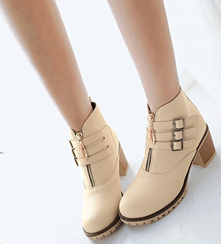Dressy High Mid Zip Up Womens Round Chunky Booties Ankle Idifu Martin Heel Toe Beige Side Cw5x8zPq