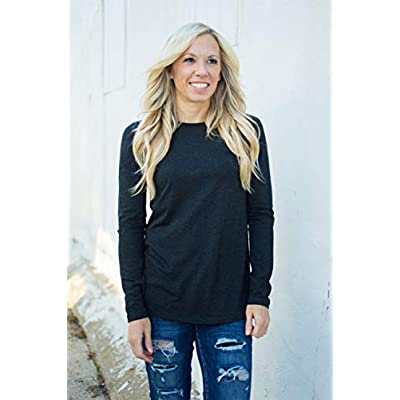 Fownd Better Basics Long Sleeve T Shirts for Women, Softer Everyday Womens Tops at Women's Clothing store
