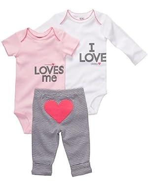 Carters Baby Girls' Pink/Grey 3 Piece Bodysuit Set