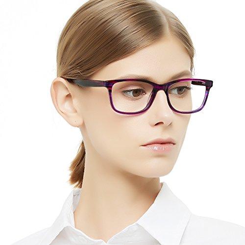 OCCI CHIARI Womens Fashion Non-Prescription Acetate Eyeglasses Frames with Clear Lens (Purple, 53-17-140)