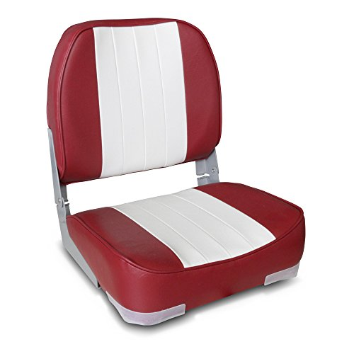 (Leader Accessories Deluxe Folding Marine Boat Seat (White/Red))