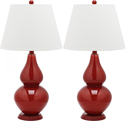 Safavieh Cybil Double Gourd Lamp, Set of 2, Red