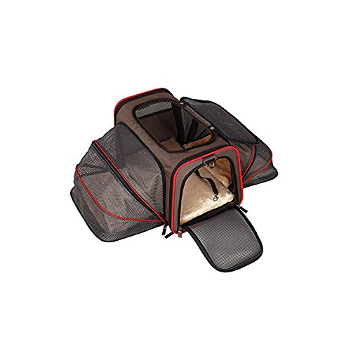ALEKO PCE01BKL Heavy Duty Expandable Pet Carrier for Travel – Airline Approved – Large- Brown