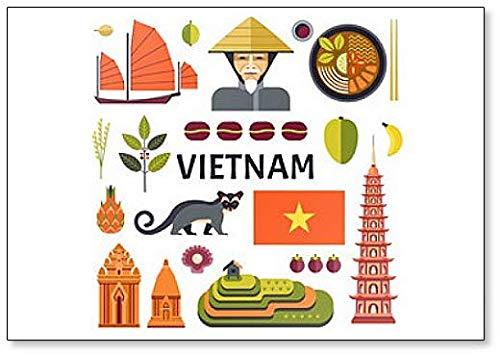 Imán para nevera con diseño de símbolos e iconos de Vietnam ...