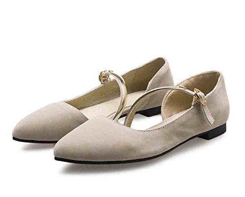 Easemax Mujeres Faux Suede Metal Strap Hebillas Con Punta Estrecha Low Top Flat Heel Sandals Beige