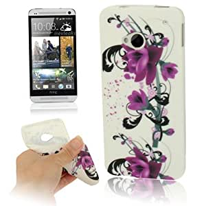 Purple Flower Pattern TPU Protection Case Cover Carcasa Para HTC One/M7