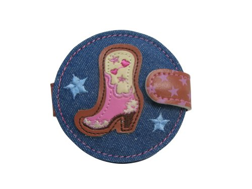 Fluff Country Rock Pink Cowgirl Boots and Red Rose Compact Mirror with Snap Closure