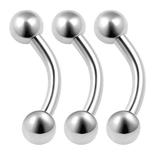 3PCS Stainless Steel Curved Barbell 16g 1/4 6mm 3mm Ball Rook Cartilage Tragus Daith Earrings Eyebrow Piercing Jewelry 0069