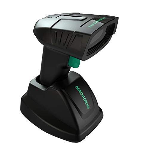 NADAMOO Wireless Barcode Scanner with Charging Cradle, 400M Long Transmission Distance, 1400mAh Rechargeable Battery, 1D Cordless Portable Handheld Laser Bar Code Reader for Computer PC POS
