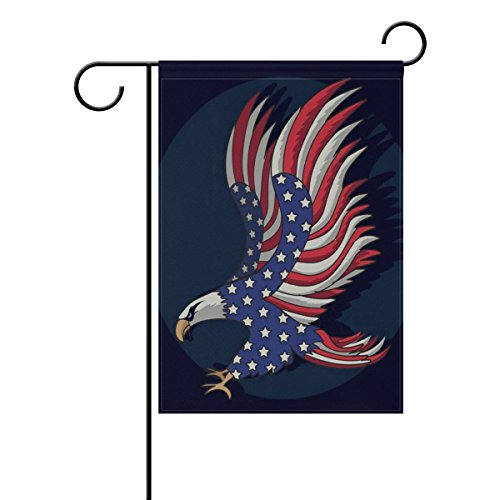 ALAZA Garden Flag Yard Decoration, Patriotic Eagle Fourth Of July Memorial Day Independence Day USA Flag Double-sided Polyester House Banner for Home Outdoor Anniversary Decor, 12