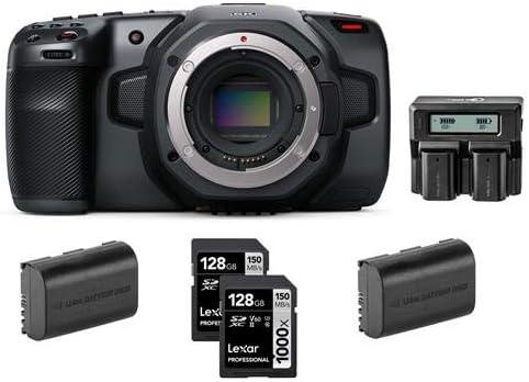 Blackmagic Design Pocket Cinema Camera 6K - Bundle with Lexar Professional 128GB 1000x UHSII U3 SDXC Memory Card (2 Pack)