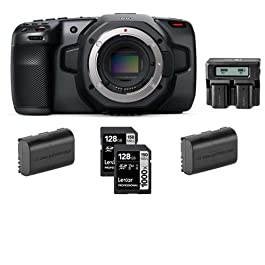 Blackmagic Design Pocket Cinema Camera 6K – Bundle with Lexar Professional 128GB 1000x UHSII U3 SDXC Memory Card (2 Pack), 2 Pack Spare Battery, Dual Charger