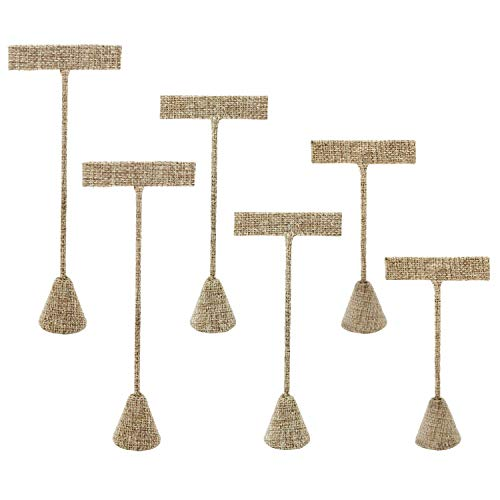 Ikee Design 6 Pcs Set Burlap Linen Earring T Stand Display Set - Showroom Tradeshow Showcase Displays ()