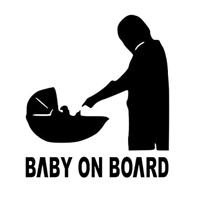 Baby on Board Force Mandalorian Decal Vinyl Sticker|Cars Trucks Vans Walls Laptop| Black |5.5 x 4.9 in|DUC157: Kitchen & Dining