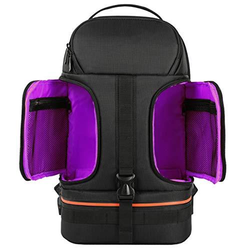ROCK Outdoor Sport DSLR Waterproof Shockproof Shoulders Camera Backpack Tripod Case Reflector Stripe fit 15.6 in Laptop Bag All Camera and Lens,Purple