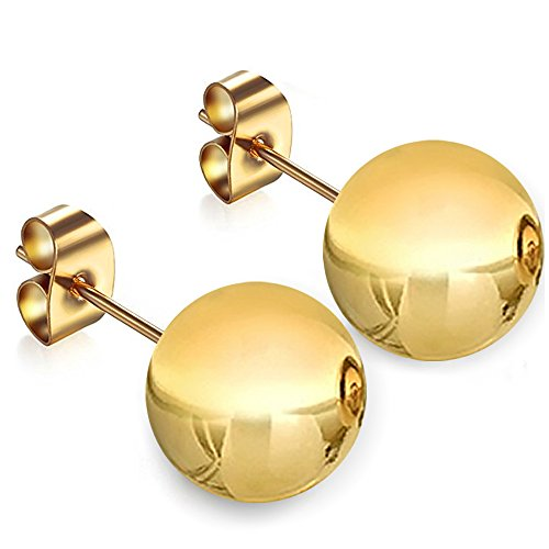 14K Yellow Gold 14MM Ball Stud Pushback Earrings by GotJewelry