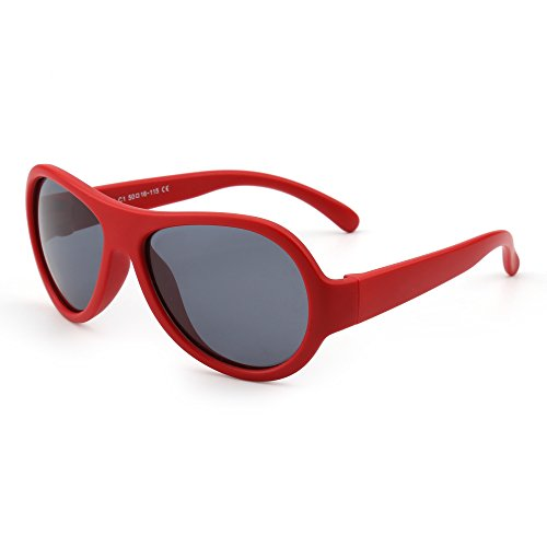 Kids Rubber Polarized Sunglasses Unbreakable Children Girls Boys Age 3-12 (Matte Red/Grey)