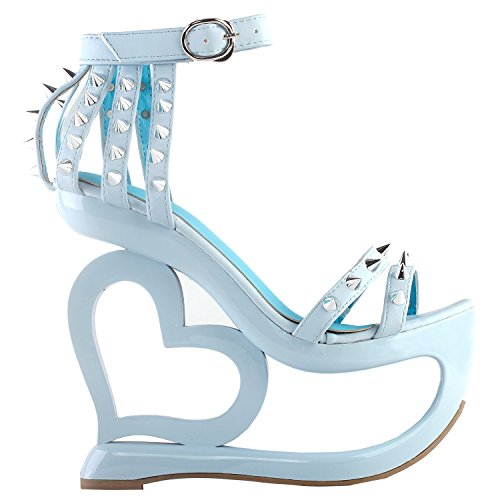 Show Story Punk Black Spikes Strappy Heart Heel Wedge Evening Sandals,LF40204 Light Blue