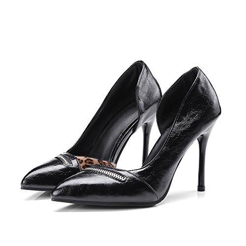 De Tacones Vestir Estrecha Tacón VIVIOO Las De Moda De Alto Delgados Tacones Zapatos del De Punta Leopardo Zapatos Black Mujeres Altos EgIqwqZx7