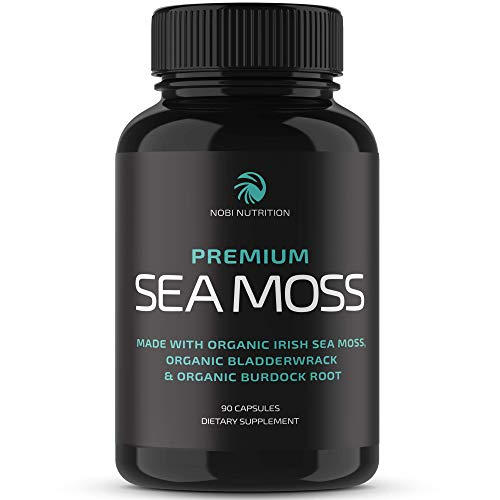 Nobi Nutrition Organic Irish Sea Moss with Organic Burdock Root & Organic Bladderwrack Powder - Immune Support, Thyroid Support, Stronger Gut Health, Anti Inflammatory Supplement - 90 Vegan Capsules