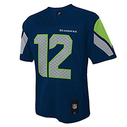 12th Fan Seattle Seahawks #12 Man Navy Blue NFL Youth 2016-17 Season Jersey (Small 8) by Outerstuff