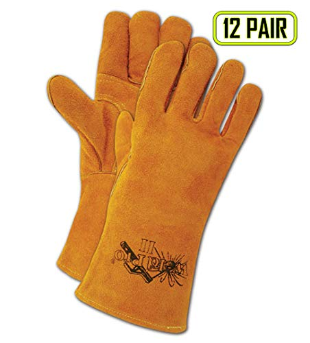 (Magid Glove & Safety T2701SMED Magid WeldPro T2701S Shoulder Split Cow Leather Welding Gloves, Medium, Russet Brown, Medium (Pack of 12))