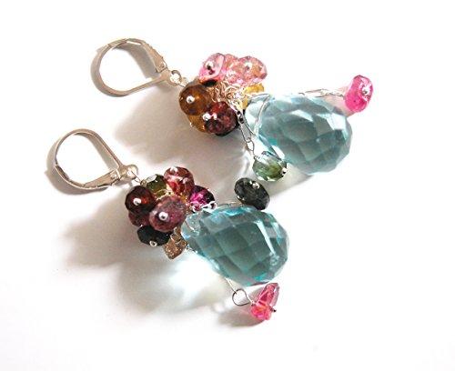 Swiss blue crystal quartz briolette and multi tourmaline Dangle Earrings earrings-Gemstone cluster dangle Earrings -