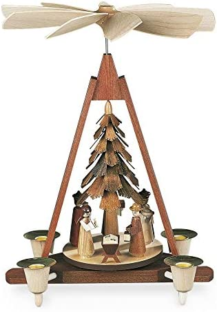 M ller German christmas pyramid Nativity scene, 1-tier, height 30 cm 12 inch, natural, original Erzgebirge by Mueller Seiffen MU 10324