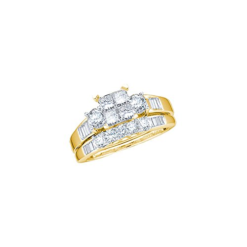 10kt Yellow Gold Womens Princess Diamond Bridal Wedding Engagement Ring Band Set 1.00 Cttw