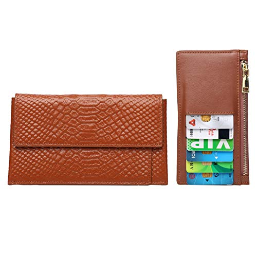Women's Wallet, Schumarson Genuine Leather Crocodile Pattern Wallet Purse for Ladies with Removable Card Case