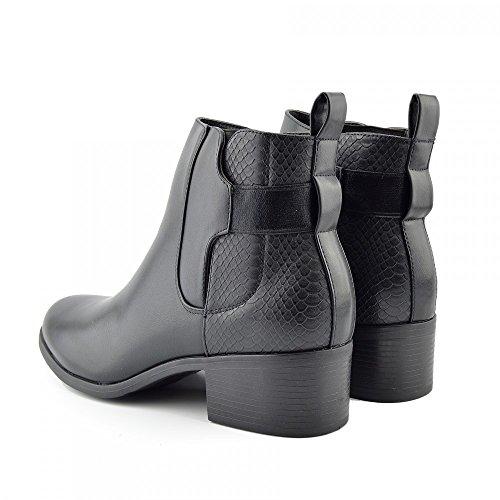 Kick Footwear - Neu Damen Stiefeletten Flache Low Heel Side Buckle Chelsea Suede Damen Schuhe Black - F50539