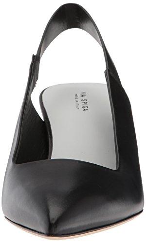 Via Spiga Women's Blake Kitten Heel Slingback Pump, Black Black Leather