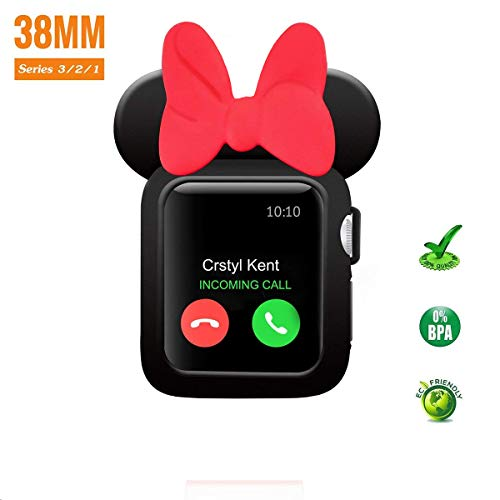 spceutoh iWatch Case Series 3/2/1 for Apple Watch 38mm Nike+,Sport,Edition All Models,Cartoon Mouse Ears Rugged Protective Slim Shock Resistant TPU Watch Case (Black Red)