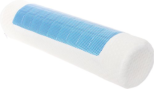 Soft Cervical Roll - Mindful Design Cooling Gel Memory Foam Round Pillow - Extra Firm Cervical Support Bolster Roll for Neck and Back Pain Relief (White, 4