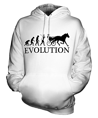 CandyMix Unisex Horse and Cart Racing Evolution of Man Mens/Womens Hoodie, Size Medium, Color White -