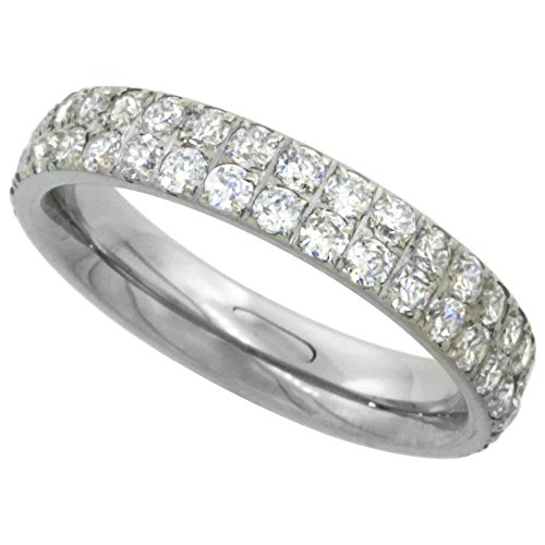Surgical Stainless Steel 2-Row Eternity Band Ring Cubic Zirconia Stones 4mm, size 8 ()