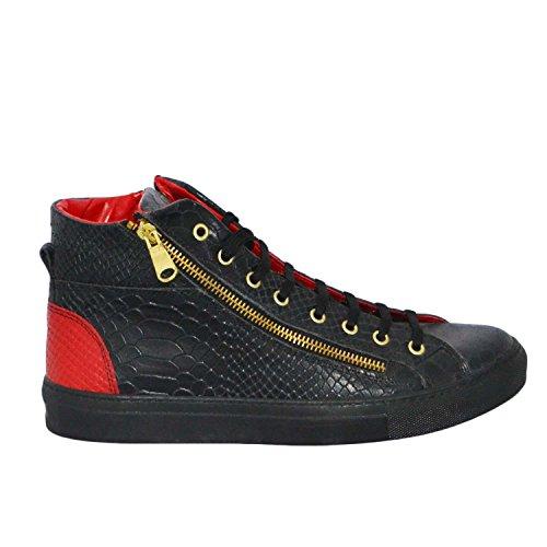 Sneakers Uomo Alta Stringata Cerniere Nera Squamata Pelle Made in Italy men shoes scarpe