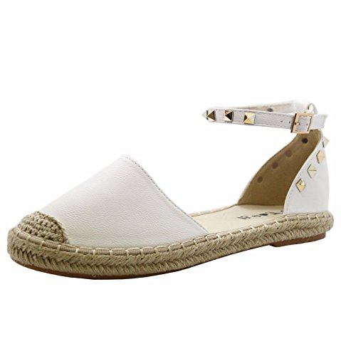 SAUTE STYLES New Ladies Womens Flats Studded Espadrilles Ankle Strap Sandals Pumps Shoes Size 3-8 White dAx5WfZSjf