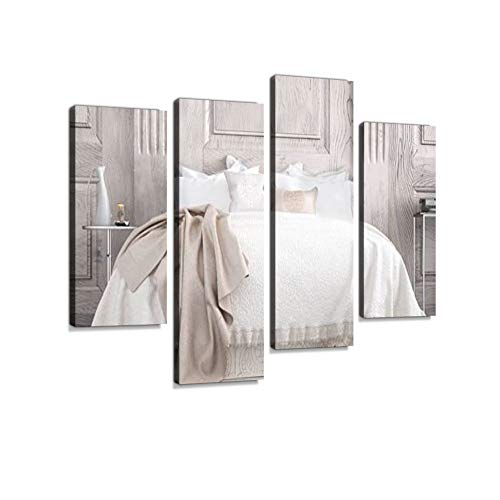 Classic Bedroom Canvas Wall Art Hanging Paintings Modern Artwork Abstract Picture Prints Home Decoration Gift Unique Designed Framed 4 Panel