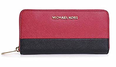 39bbd3d4abcf Image Unavailable. Image not available for. Color  Michael Kors Jet Set  Travel Zip Around Continental Wallet RED Black