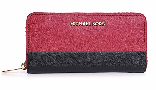 5c3c40061a Amazon.com  Michael Kors Jet Set Travel Zip Around Continental Wallet RED  Black  Shoes