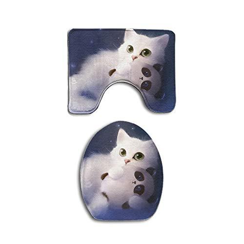Cute cat elf apofiss Non Slip 2 Piece Bathroom Mat Pedestal Rug Bath Mat Customized Artwork Print