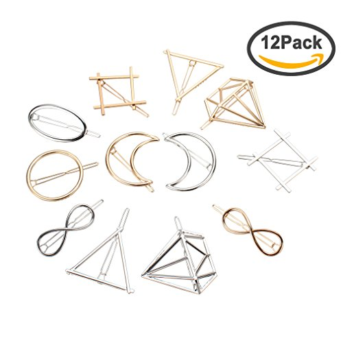 Jaciya 12pcs Minimalist Dainty Hair Clips Hollow Geometric A