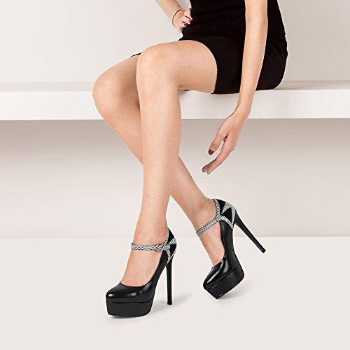 tobillo fino Color hebilla acentuados zapatos verano boda negro Negro altos Tamaño trabajo tacones mujer de tacones Zapatos EU38 UK5 altos 5 sexy Negro banquete talón CN38 de de NAN OPx1ww