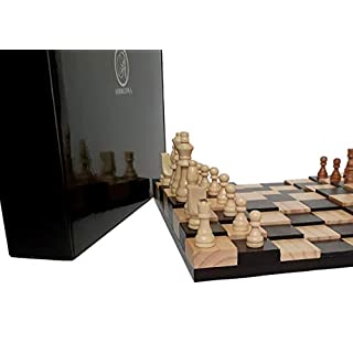 "AMBRIZZOLA Large Scala Wooden Chess Gift Set (16"" 3D Chessboard with 3.5"" Chess Pieces + 2 Extra Queens)"