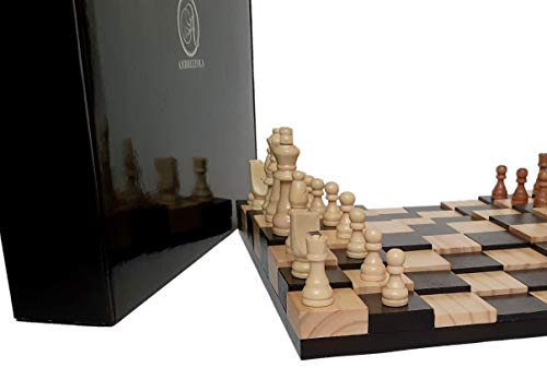 """AMBRIZZOLA Large Scala Wooden Chess Gift Set (16"""" 3D Chessboard with 3.5"""" Chess Pieces + 2 Extra Queens)"""